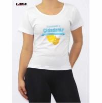 Camiseta Promocional Baby Look Com Estampa Frontal