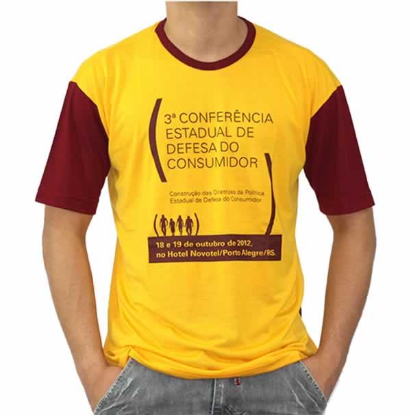 Camiseta Personalizada Poliviscose Com Estampa Frontal Duas Cores
