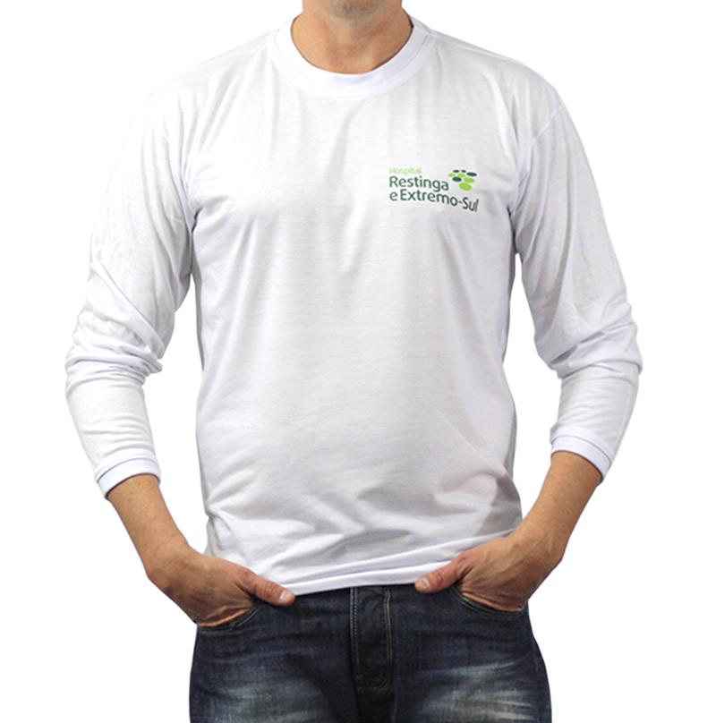 Camiseta Personalizada Poliviscose Manga Longa Com Estampa Frontal