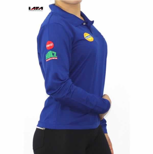 Camisa Polo Personalizada Feminina Manga Longa  Com Estampa Frontal e Lateral